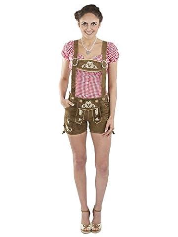 Damen Kolibri Trachtenlederhose - kurze Trachten Lederhosen - Alternative zum Dirndl - sexy Hotpants Hose Trachtenhose (30, Dunkelbraun)