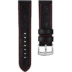 Alligator & Lizard Rally Leather Watch Strap, Emery Black, Deep Red Stitch, 24mm