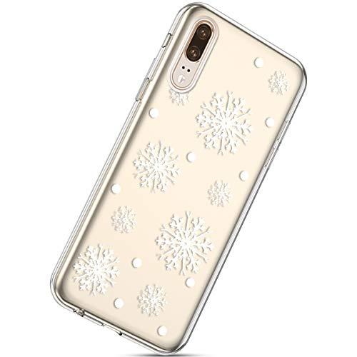 Kompatibel mit Handytasche Huawei P20 Weihnachten Silikon Hülle Crystal Clear Durchsichtige Hülle Ultradünn Transparent Handyhüllen TPU Bumper Case Cover,Schneeflocke