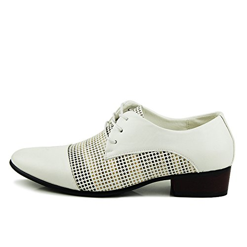 Men's Zapatos Hombre PU Leather Oxfords Shoes 8313 white