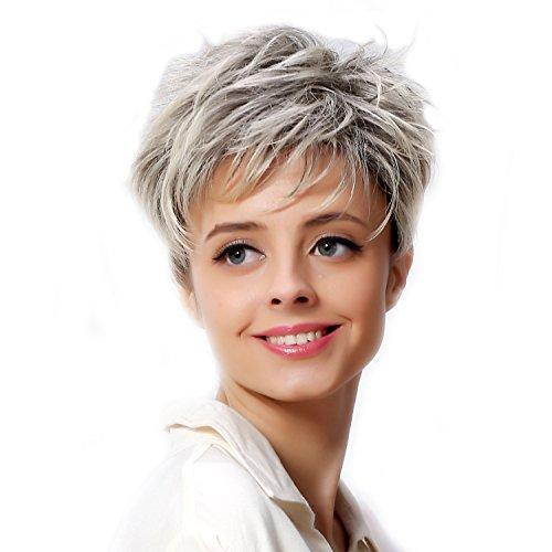Fouriding Frauen Kurz Damen Perücken synthetiques Haarteile Blonde Perücke Haar mit der Wurzeln dunklen ()