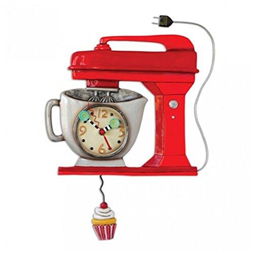 Allen Designs Vintage Mixer Red Clock - Küchenmaschine als Wanduhr