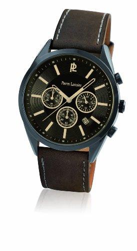 Pierre Lannier 204D434 - Reloj cronógrafo de cuarzo para hombre, correa de cuero color marrón