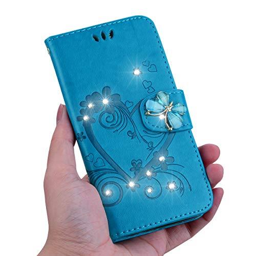 KM-Panda Kompatibel für Samsung Galaxy Note 9 Leder Hülle Tasche Herz Schmetterling Diamant Glitzer Blau Schutzhülle Handytasche Handyhülle Lederhülle Flip Case (Red Panda Skeleton)