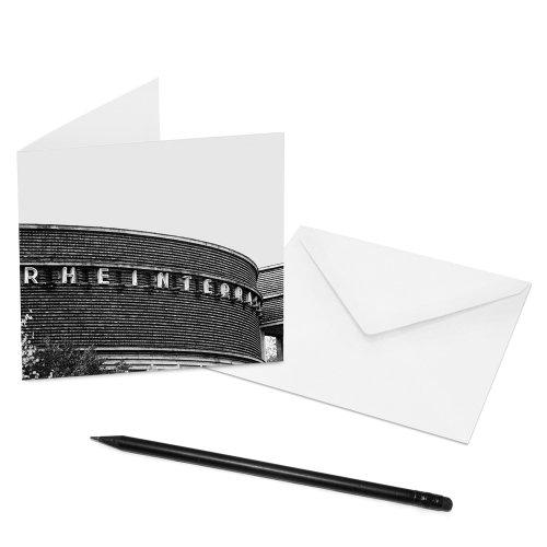 10er-Set Klappkarten Düsseldorf - 14 x 14 cm - Innenseiten: blanko - Motiv: Rheinterrasse - mit Briefumschlag