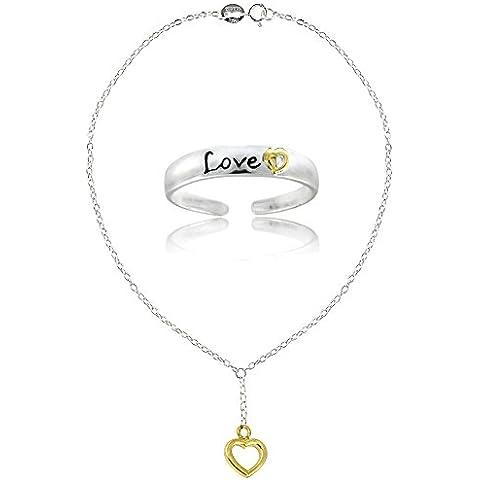 Aros & Loops plata de ley dos tonos Corazón Love Set de tobillera y anillo para dedo del pie.