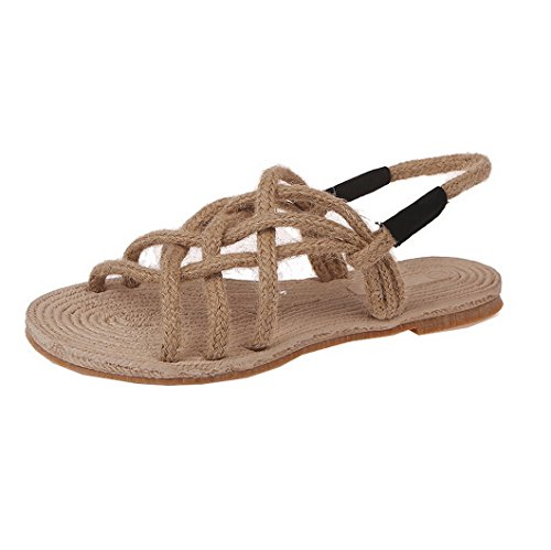 Evedaily Donna Sandali Leggero Pantofola Corda di Paglia Scarpe Tessute a Mano Infradito da Spiaggia Antiscivolo (Albicocca, 39)