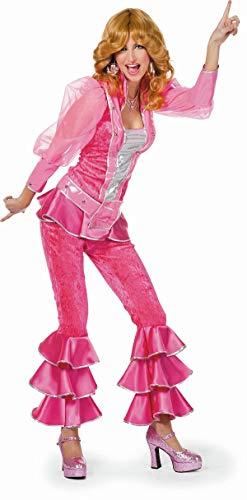 TH-MP 70er Jahre Damen Kostüm 3-teilig Bekleidung Disco Queen Verkleidung Mottoparty (Pink, 44)
