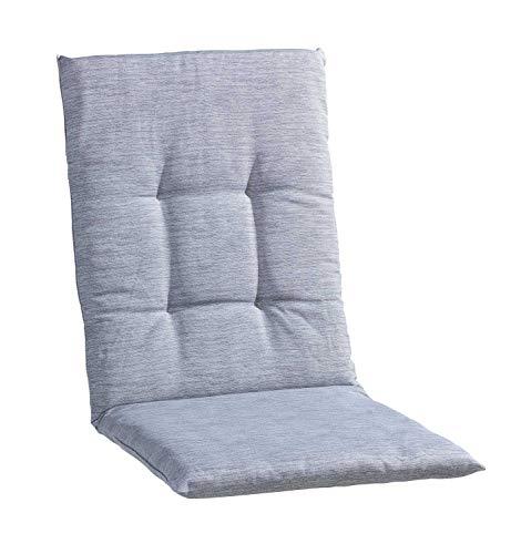 Sesselauflage Sitzpolster Gartenstuhlauflage für Mittellehner | 48 cm x 108 cm | Hellgrau | Baumwolle | Polyester