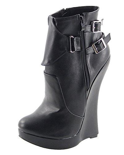 Wonderheel Keilabsatz black matte fetisch Kurzschaft stiefel wedge ankle boots (Ankle Fetisch Boots)
