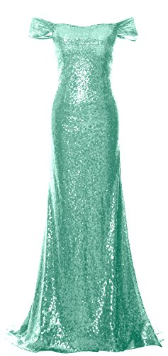 MACloth Women Off the Shoulder Prom Dress Mermaid Sequin Formal Evening Gown (42, Minze)