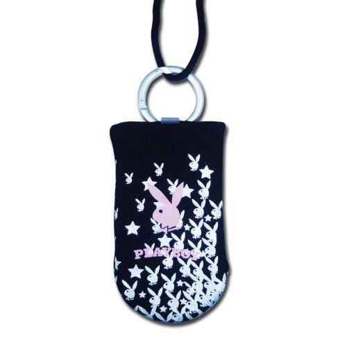 Playboy Lizenzprodukt schwarz Handy oder iPod Socke mit Bunny und Star in weiß inkl. Schlüsselband (Playboy Bunny Handy-zubehör)