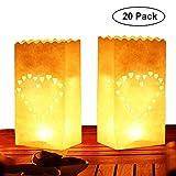 Pack de 20 Linternas Decorativas de Papel Blanco Diseño Corazón por Kurtzy - Decoración Centro de Mesa para...
