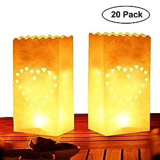 Pack de 20 Linternas Decorativas de Papel Blanco Diseño Corazón por Kurtzy – Decoración Centro de Mesa para Bodas y Cumpleaños- Resistente al Fuego – Linternas Grandes – Usar con Velas de Té o LED