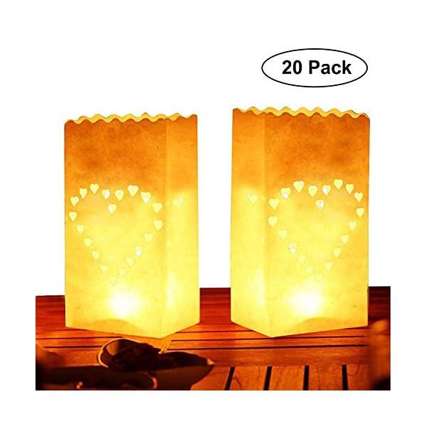 Kurtzy Bolsa de papel para velas (20 paquete) – Blanco LinternaDiseño de corazón (26,5 x 15 cm) – Resistente a las…