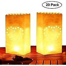 Pack de 20 Linternas Decorativas de Papel Blanco Diseño Corazón por Kurtzy - Decoración Centro de Mesa para Bodas y Cumpleaños- Resistente al Fuego ...