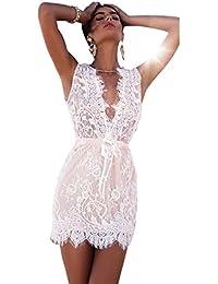 Yogogo Mini-robe Sexy Summer moulante en dentelle Party Soirée cocktail courtes jupes des femmes