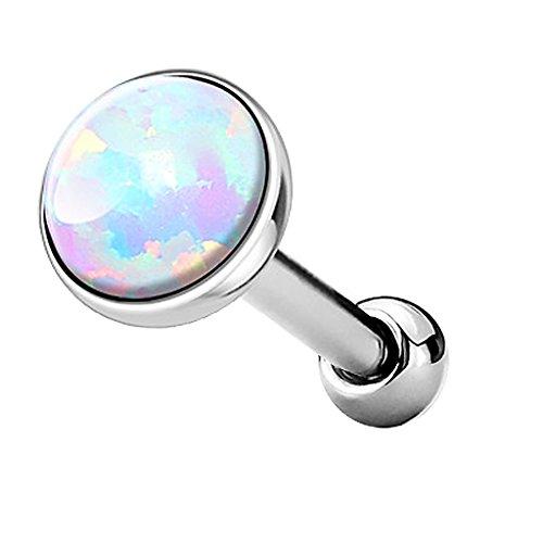 Piercingfaktor Tragus Piercing Helixpiercing Helix Ohr Cartilage Knorpel Stecker mit flachen Opal Steinen Rund Silber Weiß 3mm (Opal Tragus Piercings)