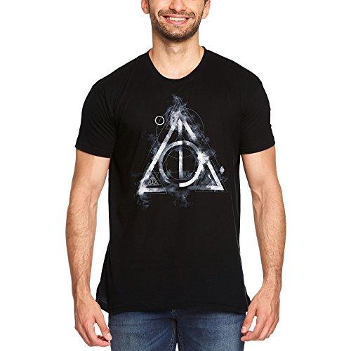 Harry Potter Camiseta Hombre Smoky Deathly Hallows Elven Forest algodón Negro - S
