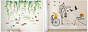Amazon Brand - Solimo Wall Sticker for Living Room(Ride Through Nature, Ideal Size on Wall: 140 cm Wall Sticker for Living Room (Vine Photo Gallery, Ideal Size on Wall, 120 cm Combo
