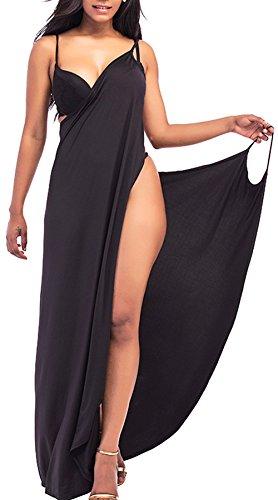 Rolansica Damen Strandkleid Wickelkleid Badeanzug Mehrfachverschleiß Leicht Schnell Trocken Leicht Black 3XL
