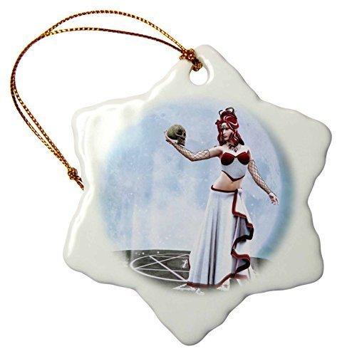 Weihnachtsdekoration in Stiefmütterchen, Medusa hat einen Totenkopf in Ihrer Hand, sie Steht auf Einem Fels, Porzellan, Schneeflocke, Ornament, Basteln, Weihnachtsbaum, zum Aufhängen