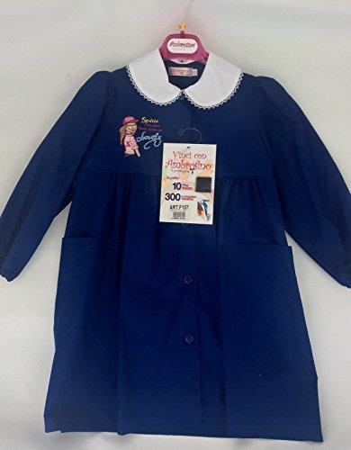 grembiule scuola blu ricamato ambrosino femmina