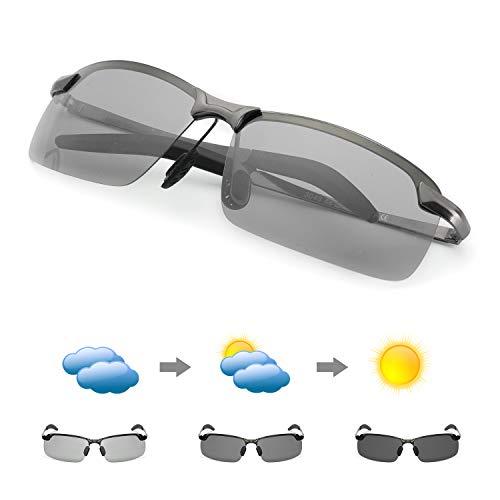 MuJaJa Herren Photochromatisch Polarisierte Sonnenbrille AL-MG Metallrahme Ultra Leicht-100% Schutz vor UVA- und UVB (Gewehr)