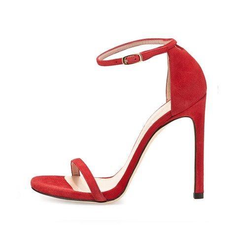 LGK&FA Con Una Punta Di Sandali Femmina Sottile Rosso Scarpe Con Tutti-Match 34 La Pelle Nera E 8 Centimetri Di Altezza 35 red and 8 centimeters high