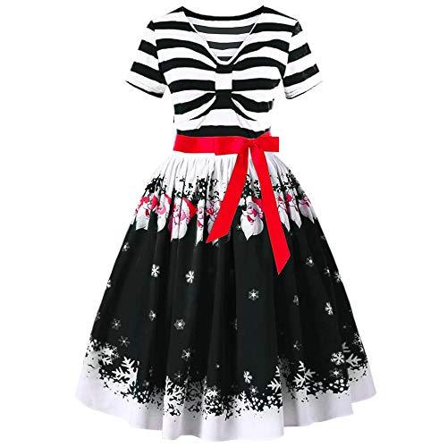 (Beikoard Frauen Claus Striped Dress Abend Prom Kostüm Swing Kleid Gestreiftes Vintage Print Kleid Kleider Cocktail Kleider)