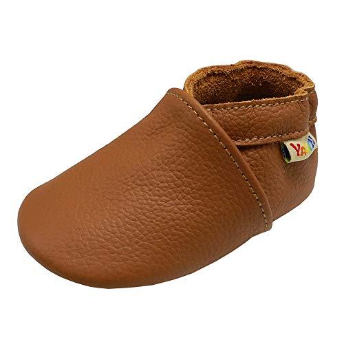 YALION Baby Weiche Leder Lauflernschuhe Junge Krabbelschuhe Mädchen Hausschuhe Lederpuschen Multi-Stile (12-18 Monate, Hellbraun)