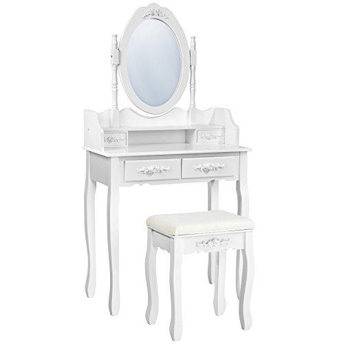 TecTake-Mesa-de-maquillaje-tocador-con-taburete-con-espejo-y-cmoda-4-cajones-blanco