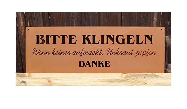 """Edelrost Spruchtafel /""""Lächeln/"""" 60x20cm"""