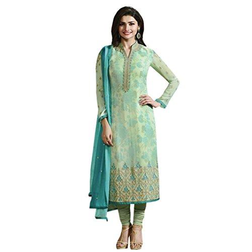 Ethnic Empire Women's Georgette Anarkali Salwar Suit Set (Eed-Ea10732_Light Green_Free Size)