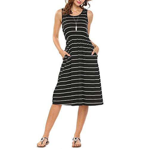 CUTUDE Damen Kleider mit Tasche Gestreift Lose Frauen Kleid Maxi Kleid Mode 2019 Ärmellos Partykleid O-Ansatz Beiläufig Strandkleid
