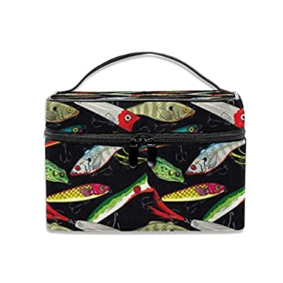 Travel Makeup Train Case Makeup Cosmetic Case Organizer Portable Artist Storage Bag for Cosmetics Makeup Brushes Toiletry Jewelry Digital Accessories Colorful Fishing Lures Pattern