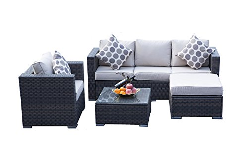 YAKOE Rattan 5-Seater Garden Furniture Sofa Table Chairs Set - Brown Weave