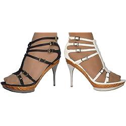 Damen Schuhe LATIN NIGHT - High Heels Plateau Pumps in Leder-Metall Optik - 10 cm