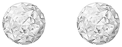Carissima Gold 9ct White Gold Diamond Cut 4mm Ball Stud Earrings