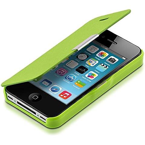 kwmobile Funda potectora práctica y chic FLIP COVER para Apple iPhone 4 / 4S en verde