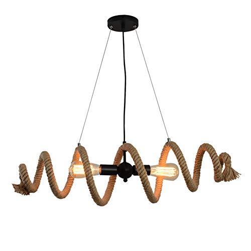 Lámpara Colgante Industrial De Cuerda De Cáñamo