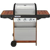 Campingaz Gasgrill 3 Series Woody LX, BBQ Grillwagen aus Holz mit 3 Edelstahlbrennern, Standgrill mit Deckel und Thermometer, InstaClean Reinigungssystem und Culinary Modular System