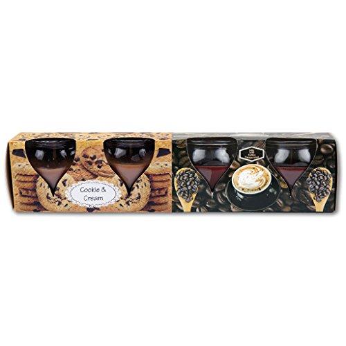 Motiv Luft (4er Pack Duftkerzen im Glas, MotivKerze, Raumduft, viele Düfte, Auswahl: Cookie Cream - Kaffee Cappuccino)