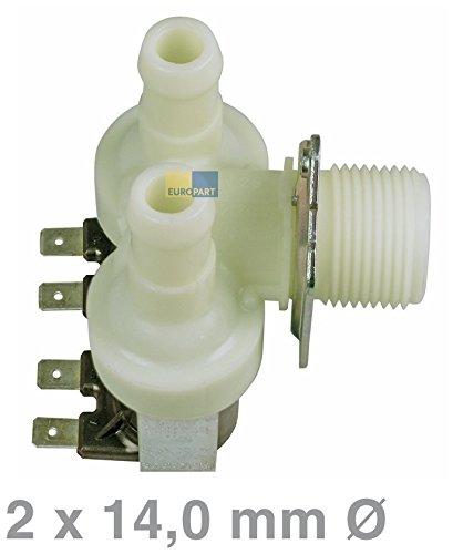 Universal Magnetventil 2-fach 90° 14,0mmØ Waschmaschine Spülmaschine