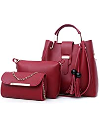 HITSAN INCORPORATION 3pcs Women Bag Set Fashion Crossbody Bags For Women  Leather Shoulder Messenger Bag Large 4a9d30f272