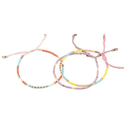 3 Stücke Bunt Samen Perle Handgefertigt Geflochten Armband Boho Armreif, Rosa/Orange/Gelb