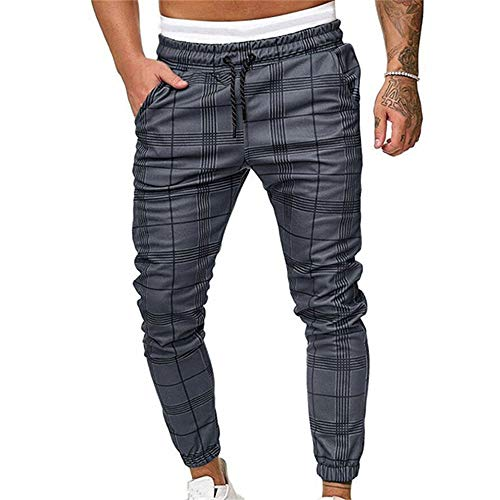 Pantalones Largos Deportivos De Jogging Running para Hombre, Morbuy Casual Tartán Pants Slim Fit Pantalón De Chándal con Bolsillos Cordón de Ajuste Cargo Trouser (M,Gris)