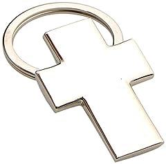 Idea Regalo - Mopec - Portachiavi in Metallo a Forma di Croce, RIF. M639, Confezione da 10Pezzi