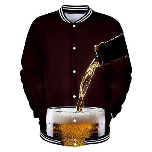 ZHANSANFM Baseball Jacke Herren Bier 3D Drucken Sweatjacke Stehkragen Winddicht Freizeitjacke Bequem Loose Fit Bomberjacke Männer Herbst Winter Casual Pullover Jacke Mantel (L, H)