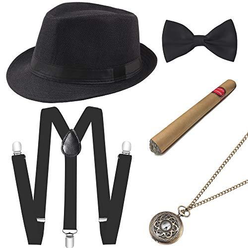 Coucoland 1920s Herren Accessoires Mafia Gatsby Kostüm Set inklusive Panama Gangster Hut Verstellbar Elastisch Hosenträger Herren Halsschleife Fliege Taschenuhr und Plastik Zigarre (Schwarz) (Mafia Kostüm Für Herren)